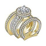 DiviDiamonds - Juego de anillos de compromiso de boda con diamantes de imitación de 4 quilates, chapados en oro amarillo de 14 quilates