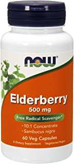 NOW Supplements, Elderberry (Sambucus nigra)500 mg, 10:1 Concentrate, 60 Veg Capsules