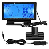 Elerose デジタル温度計自動車、CD60多機能デジタル車自動車温度計ゲージ、時間ナビゲーション機能付き