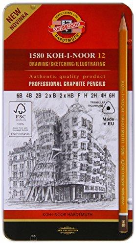 Koh-I-Noor - Juego de lapiceros (dureza 6B, 4B, 2B, 2 de HB, F, H, 2H, 4H y 6H)