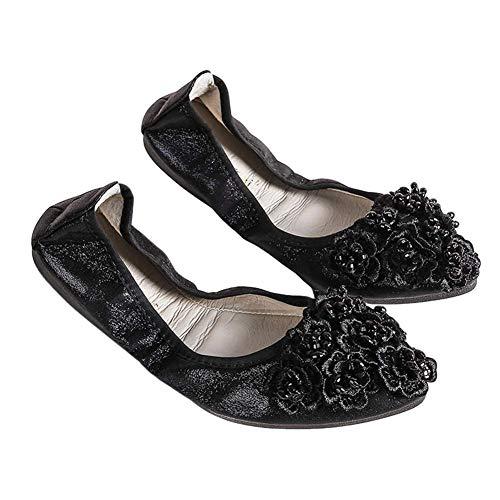 Zapatos Bailarina para Mujer Ptalos Zapatos Planos Suela de Goma Suave Respirable Antideslizante Estilo Medieval Cucharada Puntiaguda Bombas Planas para Noche/Boda/Formal/Informal Negro EU 33