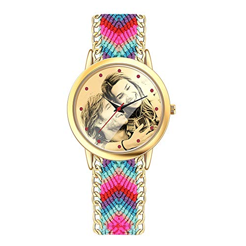 SOUFEEL Reloj Personalizado Foto Banda Nylon Ajustable Impermeable Ultra-Delgada Regalo para Familia Mujer Novia Bebe Nuevo San Valentín