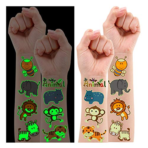 Partywind Luminous Jungle Theme Party Supplies Temporary Tattoos for Kids, 38 Styles Glow Jungle Baby Shower Safari Birthday Party Decorations Favors, Jungle Animal Tattoo Stickers Gifts for Boys and Girls