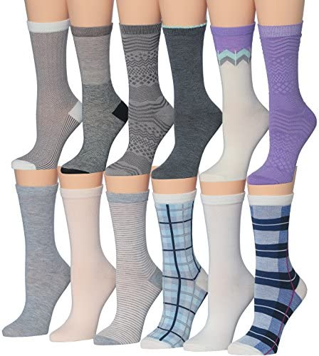 Tipi Toe Women s 12 Pairs Colorful Patterned Crew Socks Summer Pastel 16173031 product image