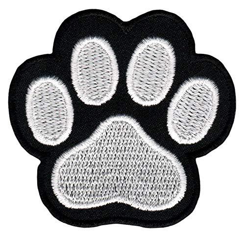Hundepfote Schwarz Weiß Pfote Hund Aufnäher Bügelbild Patch Größe 6,1 x 5,8 cm