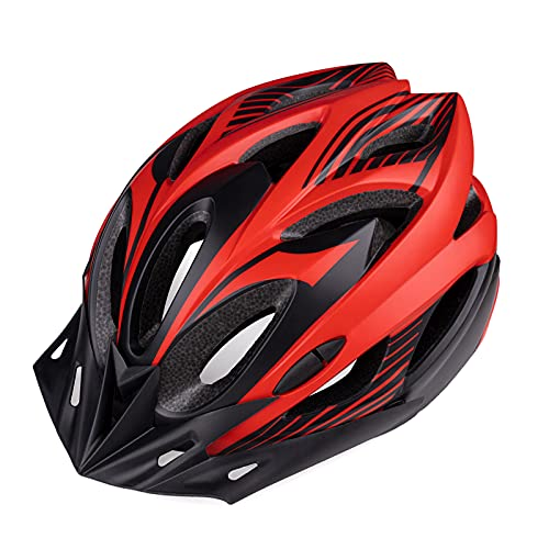Bike Helmet Adult Cycling Helmets - Adjustable Size Ultralight Bicycle Helmets Specialized for Men and Women with Removable Rear Light and Detachable Visor for Mountain & Road Biking Cycle Helmet