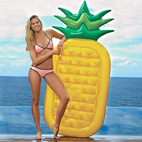 Fineway. Jumbo Inflatable Pineapple Pop Lounger Air Mat Float Lilo Swimming Pool Mattress-Size 159 x 80 x 13cm
