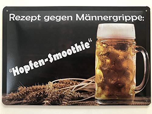 Deko7 Blechschild 30 x 20 cm Rezept gegen Männergrippe: Hopfen-Smoothie