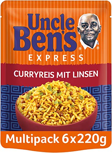 Uncle Ben's Express-Reis Curryreis mit Linsen, 6 Packungen (6 x 220 g)
