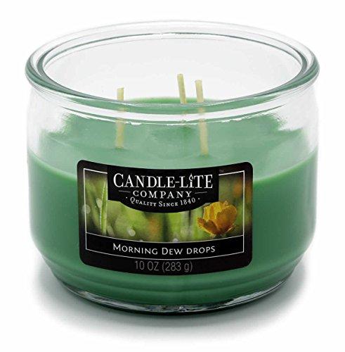 Candle Lite – 3 Mèche de Bougie dans Verre, Morning Dew Drops 283 g, Vert, 10,5 x 10,5 x 8.2 cm