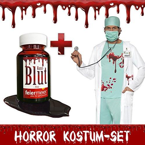 Horror Kostüm-Set Zombie Arzt blutverschmiert - Halloween Fasching Karneval Herren-Kostüm Blut (Large)