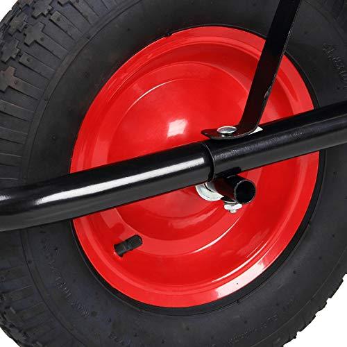 Monzana® Schubkarre 100 Liter Bauschubkarre Gartenschubkarre bis 150kg Belastbarkeit Luftreifen stabile Ausführung mit Kunstoffwanne - 3