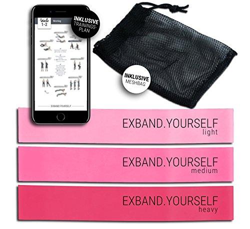 Exband Yourself Mini Resistance Bänder Set in Rosa/Pink - Fitnessbänder für Frauen, Optimal für Fitness, z.B. Krafttraining, Crossfit, Yoga und Pilates. INKLUSIVE Trainingsprogramm