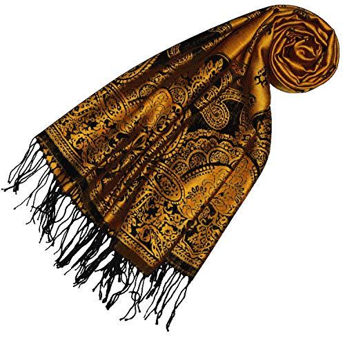 Lorenzo Cana Pashmina Damen Schal Schaltuch jacquardgewebt Paisley Muster 70 cm x 180 cm Tuch Naturfaser eleganter Frauenschal Orange Schwarz - 93328