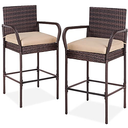 Best Choice Products Set of 2 Wicker Bar Stools, Indoor Outdoor Bar Height Chairs w/Cushion, Footrests, Armrests for Backyard, Patio, Pool, Garden, Deck - Brown