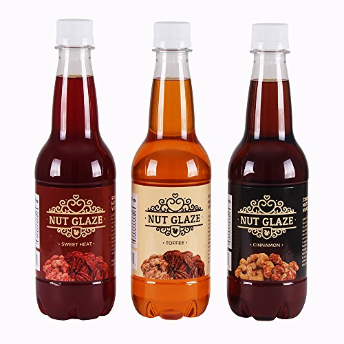 Time for Treats Cinnamon, Toffee and Sweet Heat 3-Pack Nut Glaze, Three 16.9 Ounce Bottles, Brown