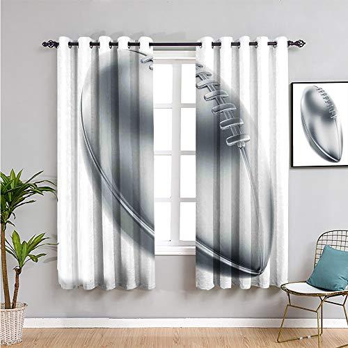 Isolierter Vorhang, 114,3 cm Länge, realistischer American Football in 3D-Stil, Sportthema, Siegertrophäe für Wohnzimmer oder Schlafzimmer, Grau, Hellgrau, Weiß, 2,5 x 114,3 cm (B x L)