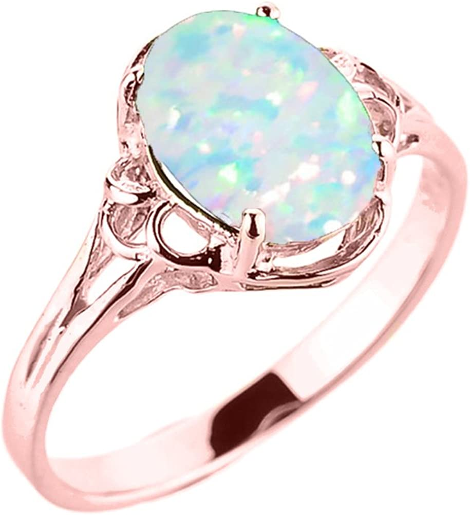 Elegant 14k Cheap sale Rose Gold Manufacturer regenerated product Oval October Birthstone Solitaire Ring