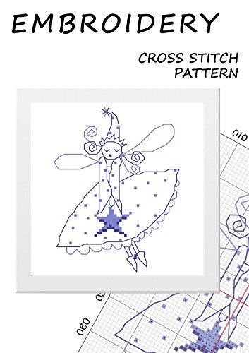 Christmas fairy blue cross stitch pattern Magic needlepoint princess Miniature fairy embroidery silhouette stickers winter fairy butterfly Cute mini handmade needlework Little fairy ballerina decor