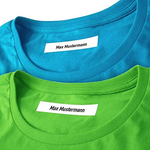 Wäscheetiketten (500) mit Namen mit und ohne Motiv zum Einbügeln Bügeletiketten Wäscheschilder Namensschilder Bügeln Beschriftung Wäsche 500 Stück (ohne Motiv)