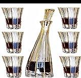 ZHAHAPPY Decantador de Whisky Set 7-PC Set 84 0ML Decantador de Whisky con 6 Accesorios de Vino de Cristal de Cristal.