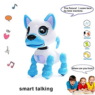 amdohai Interactive Puppy - Smart Pet, Electronic Robot Dog Toys for Age 3 4 5 6 7 8 Year Old Girls, Gifts Idea for Kids ? Voice Control?Intelligent Talking (White)
