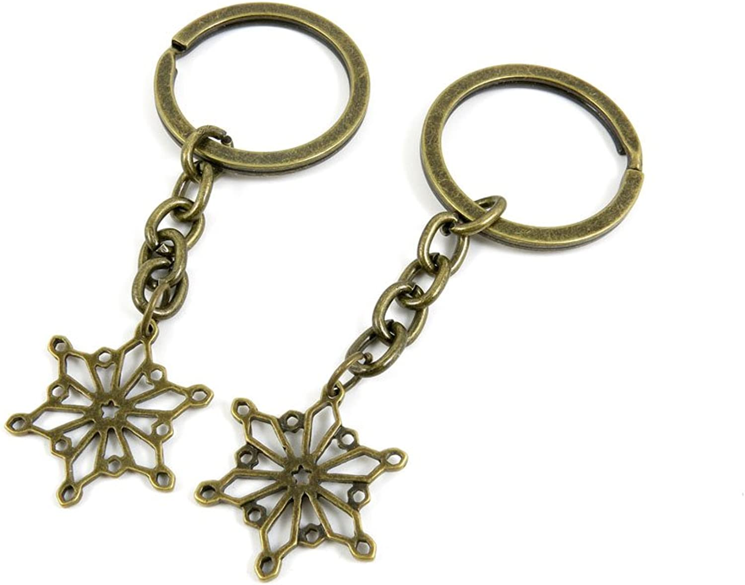100 PCS Keyrings Keychains Key Ring Chains Tags Jewelry Findings Clasps Buckles Supplies V3BJ7 Snowflake