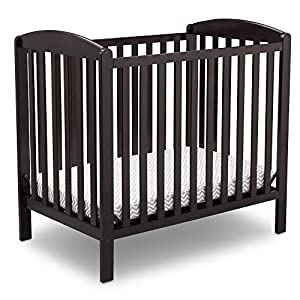 Delta Children Emery Mini Convertible Baby Crib with 2.75-inch Mattress, Dark Chocolate