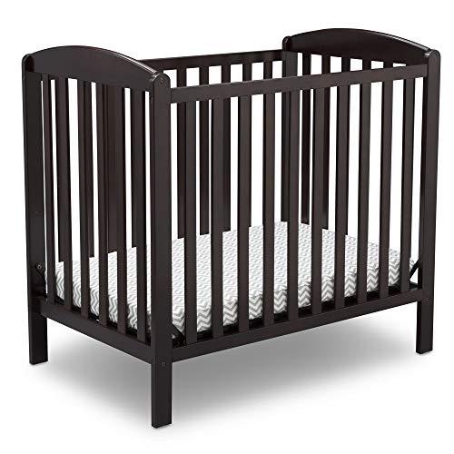 Delta Children Emery Mini Convertible Baby Crib with 2.75-inch Mattress, Dark Chocolate