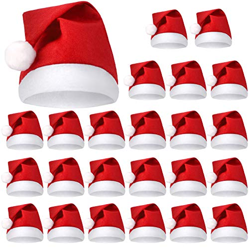 URATOT 24 Pack Christmas Santa Hat with White Cuff Non-Woven Fabric for Children