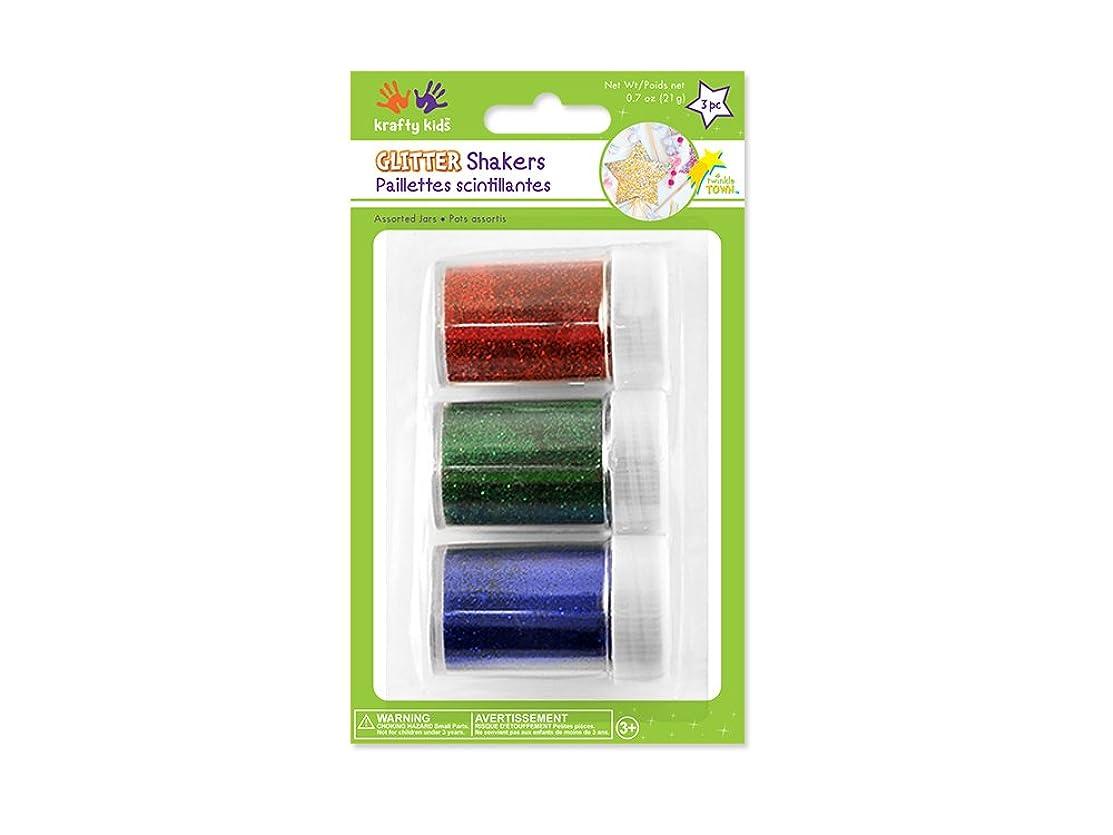 Krafty Kids GC400B Glitter Shaker Jars, 21g, Red/Green/ Blue