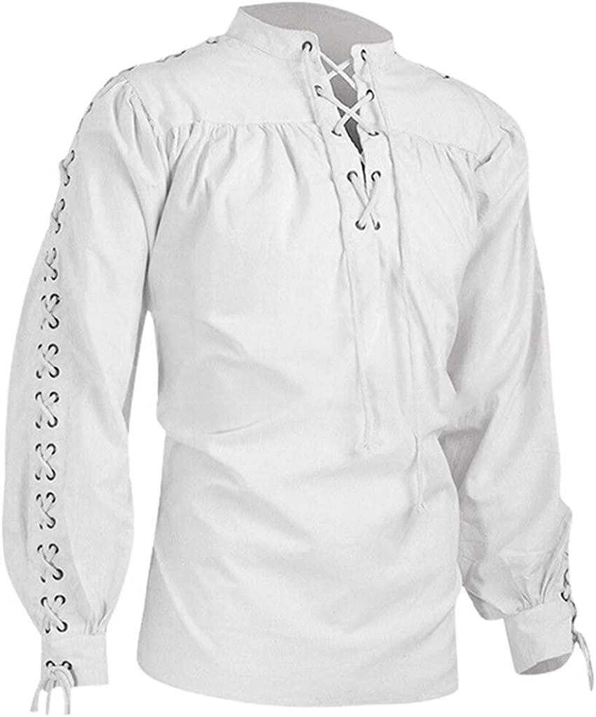 Gothic Shirt for Men Bandage Long Sleeve Pullover Tops Vintage Ethnic Style Blouse Medieval Steampunk Pirate Top