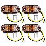 4pcs LED Luces Laterales Luces de Marcador de Posición IP68 Pilotos Led Remolque 12V / 24V Amarillo para el coche Camión Van Remolques Indicador