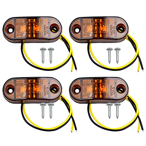 4pcs LED Luces Laterales Luces de Marcador de Posición IP68 Pilotos Led Remolque 12V / 24V Amarillo...