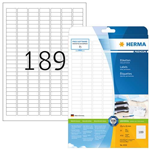 HERMA 4333 Universal Etiketten DIN A4 klein (25,4 x 10 mm, 25 Blatt, Papier, matt) selbstklebend, bedruckbar, permanent haftende Adressaufkleber, 4.725 Klebeetiketten, weiß