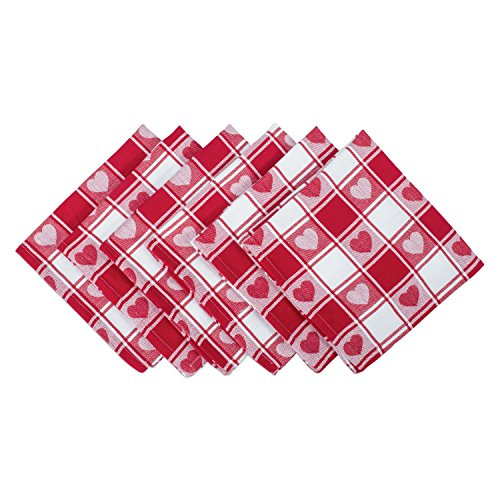 DII Valentine's Day 100% Cotton Napkin Set, Machine Washable, Checkered Heart, 6 Piece