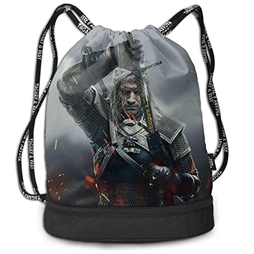 Witcher Bundle Mochila de gran capacidad, ligera, portátil, multifuncional, con cordón, ideal para viajes de fitness, hombres y mujeres