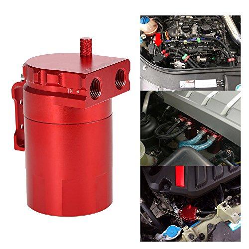 KKmoon Kit récupérateur d'huile moteur universel en alliage d'aluminium pour reniflard + durite rouge