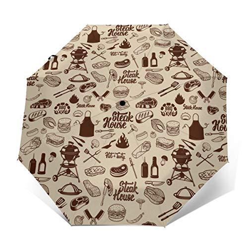 Barbacoa a la parrilla de la carne de la cocina herramientas paraguas a prueba de viento paraguas de viaje automático abierto/cerrar compacto paraguas plegable Impresión exterior talla única