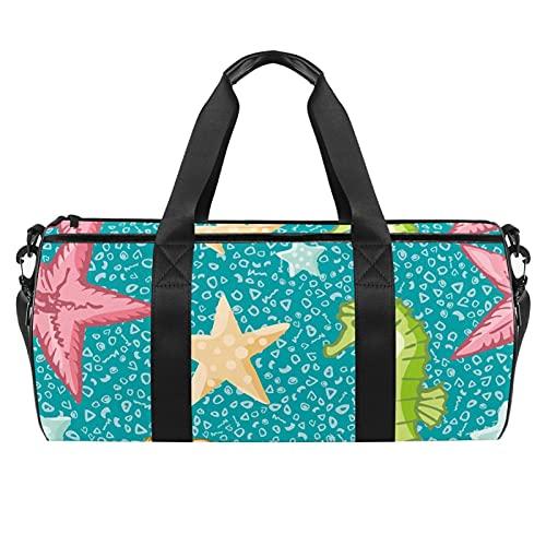 Borse da spiaggia da viaggio, grande sport palestra durante la notte borsone cavalluccio marino, stella marina stampa mare borsa a tracolla con tasca asciutta bagnata