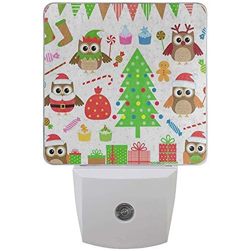 Katrine Store Luce Notturna Festa di Natale Albero Gufo Regalo Cupcake Candy Plug-in Lampada da Notte a LED con sensore di Luce