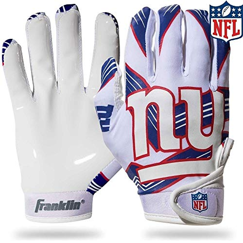 Franklin Sports New York Giants Youth NFL Football Receiver Gloves - Receiver Gloves For Kids - NFL Team Logos and Silicone Palm - Youth M/L Pair