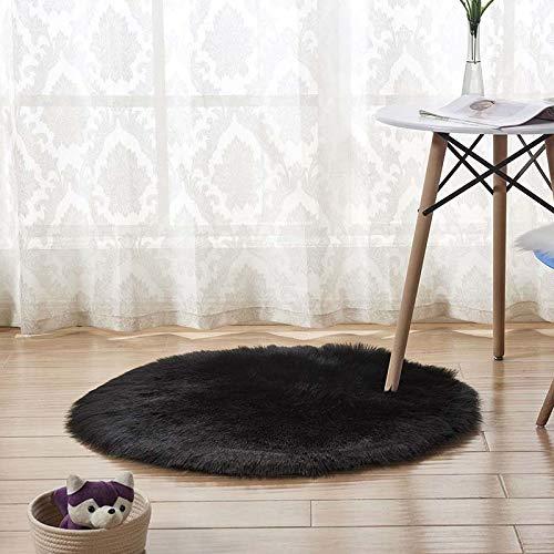 Eogrokerr Tapis rond doux en peau de mouton synthétique ultra doux et moelleux, siège en fausse peau de mouton pour chambre à coucher, canapé, salon (noir, 60 cm)