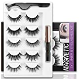 Magnetic Eyelashes and Magnetic Eyeliner kit, HazyMete 5 Pairs 3D False Lashes with Tweezers Reusable Magnetic Lashes Set, 5 Different Styles Magnetic Eyelashes, No Glue Needed