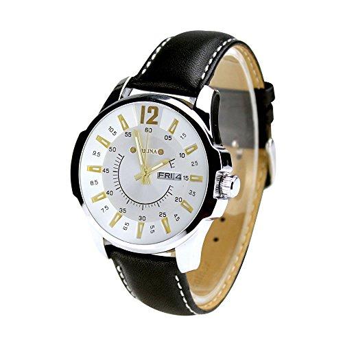 City Herren-Armbanduhr, silberfarbenes Gehäuse, Datumsanzeige, schwarzes Lederband, modische Armbanduhr