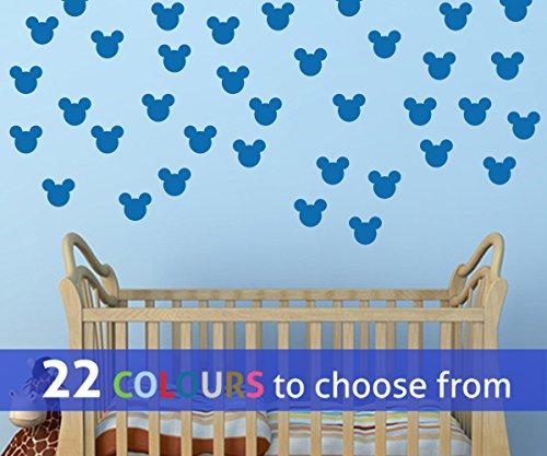 TopZog Wandtattoo, Motiv Mickey Mouse, 7,6 cm, für Babys, Jungen, Mädchen, Kinderzimmer, Laptop, Medium, Blau, 18 Stück
