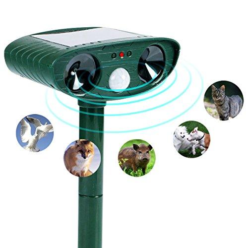 Wikoo Animal Pest Repeller, Solar Powered Ultrasonic Pest Repeller,Effective Outdoor Waterproof Pest Control,Repels Raccoons,Skunks,Foxes,Dogs,Cats,Deer,Squirrels etc