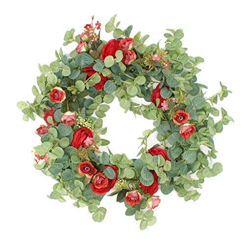 Nobranded 18'' Eucalyptus Flower Wreath Handmade Floral Wreath Artificial Spring Garland Wreath for Front Door Wall Wedding Party Home Decor