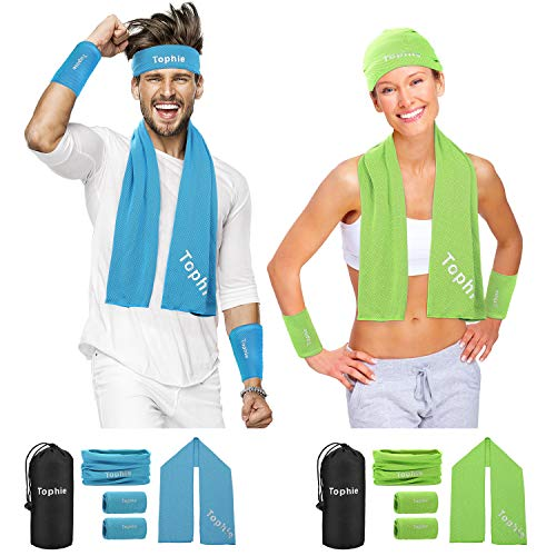 Cooling Towel Headbands Neck Gaiters Wristbands Set for Man and Women, Microfiber Ice Towel for All Activities. Keep Cool Face Scarf for Workout, Gym, Yoga,Travel,Golf