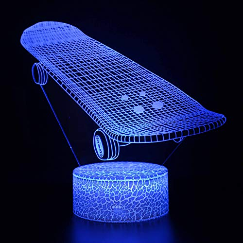 Skateboard-lampen met 3D-effect, nachtlampje, The Lord LED-tafellamp, nachtlampje, 7 kleuren, touch-bediening